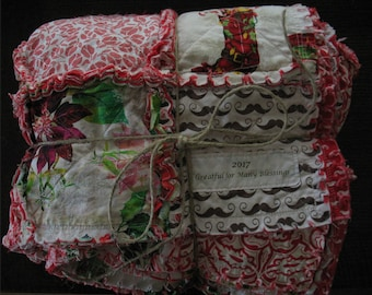 Rag Quilt THROW size - Christmas - red flannel