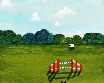 Border Collie Dog AGILITY limited edition reproduction art print of Todd Young painting