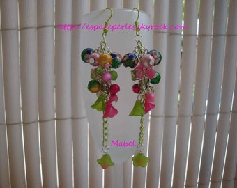 Multicolor, pink, green, Crystal, lucite, cloisonné beads cluster earrings