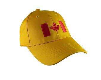 Canadian Flag Red Embroidery Design on a Sun Yellow Adjustable Structured Baseball Cap for Kids Age 6 to 14 Tone on Tone Fashion Look
