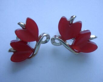Vintage Red Moon glow Heart Clip On Mid Century Earrings