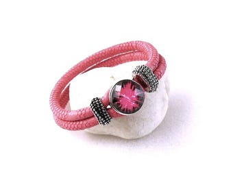 Bracelets Nooza PU and Metal - suitable for snaps in size M - pink