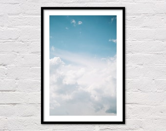 Sky Print, Clouds Wall Print, Sky Photo, Cloud Photo, Bedroom Printable, Minimalist Art, White and Blue Sky Art, Cloud Art, Digital Download