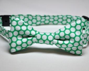 Boys Bowtie Green Polka Dots Bow Tie