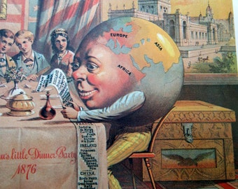 Uncle Sams Little Dinner Party Feeding the World / Domestic Sewing Machine Co  Vintage Advertising Poster Size Book Plate