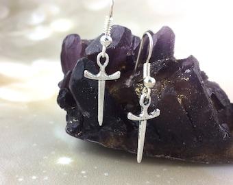 Sterling Silver Sword Earrings Dagger Earrings Mens Dangle Earrings Medieval Jewelry Renaissance Knight Costume Men Women Clip On K09