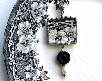 Broken china jewelry, necklace pendant, Victorian black white toile, English transferware with onyx and pearl beads, Dishfunctional Designs