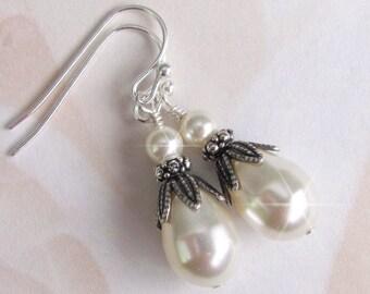 Antique Style Teardrop Pearl Earrings, Bridal Pearl Earrings, Bridesmaids, Wedding White or Ivory Pearl Drop Earrings