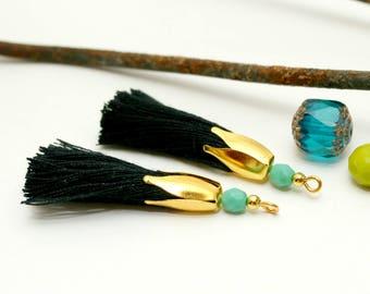 2 tassels black tassel gold 45 mm, Turquoise bead, tassel handmade, tassel jewelry, tassel charm