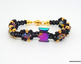 Skull bracelet, black leather, beads