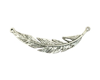 3 Silver Feather Connector Charm 12x71mm by TIJC - SP1346