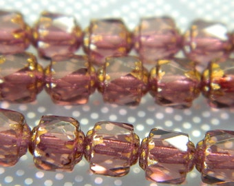 6mm Fire Polished Czech Glass Violet Bols Beads - Authentic Czech Cathedral Bols Glass Beads - 18 Beads CB101