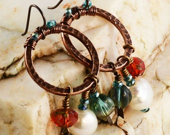 Blue Pink and Pearls Antique Copper Earrings