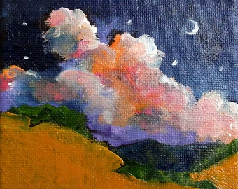 Miniature Impressionist Painting 4x4 Plein Air Landscape MOONRISE Clouds & Hills Art Lynne French