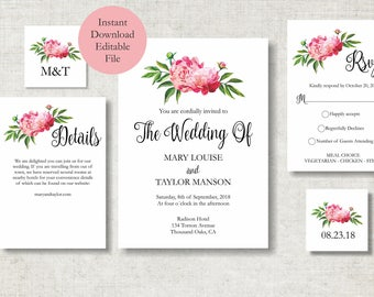 Peony Wedding invitation template, Floral Wedding Invite printable, Romantic Wedding Invitation, wedding invitation suite