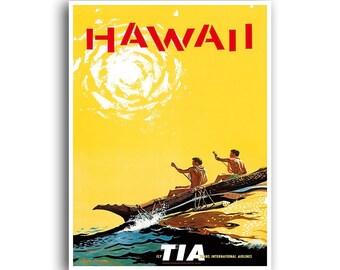 Hawaii Art Vintage Travel Poster Print Home Wall Decor (XR967)