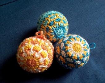 Three decorative balls crochet