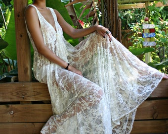 Bridal Lingerie  Lace Nightgown Tie Front Waterfall Gown Wedding Sleepwear Honeymoon White Ivory Lace  Wedding Lingerie