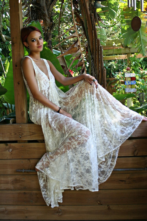 Bridal Lingerie Lace Nightgown Tie Front Waterfall Gown
