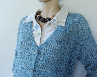 Crochet Cardigan, Alpaca Cardigan, Blue Cardigans, Cardigan Women, Gift for Her, Crochet Cardigan Women, Slate Blue, Available in size L