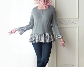 Upcycled henley tshirt w/ ruffle, long sleeve, gray floral print, Boho top, hippie shirt, size medium large, lace cutout, mismatched sleeves