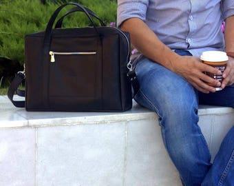LEATHER BAG MEN, leather document bag, mens business bag, leather shoulder bag, mens work bag, handmade leather briefcase,  mens leather bag