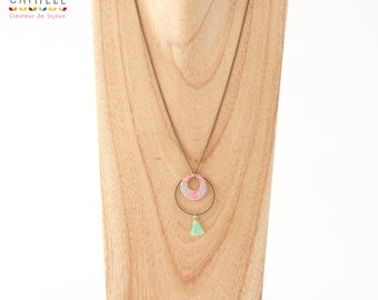 Necklace long resin circle pattern Medallion Palm coral