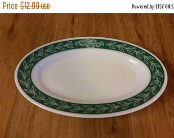 On Sale Green Laurel  Pyrex Double Touch Milk Glass 11.5 inch Oval Serving Tray or Snack Tray