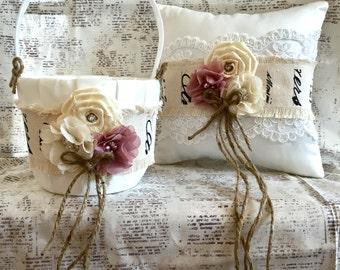 Flower girl basket, rustic flower girl basket, rustic ring bearer pillow, ring pillow, vintage flower girl basket, vintage ring pillow