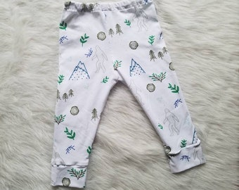 Sasquatch leggings, big foot leggings, baby leggings, toddler leggings, handmade leggings, sasquatch pants, sasquatch baby leggings