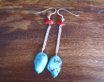 Turquoise, Red Coral & Sterling Silver Long Earrings (A26)