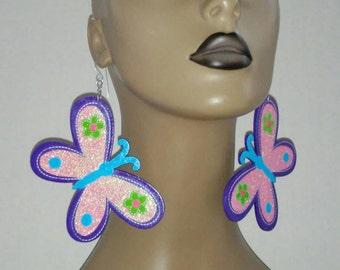 Adorable Butterfly Wooden Earrings Embellished with Beautiful Glitter, Butterfly Earrings, Handmade Earrings, Fashion Earrings