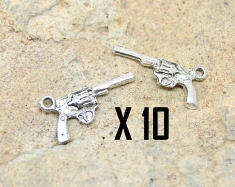 10 pistol, revolver American, western, silver plated charms