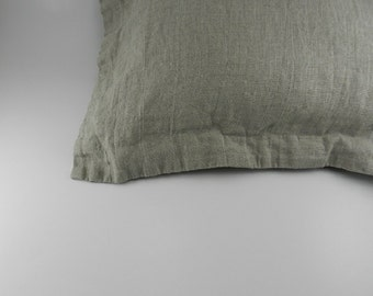 Handmade Decorative Linen Pillow Cover with Flange / Throw Pillow Cover / Pillow Sham
