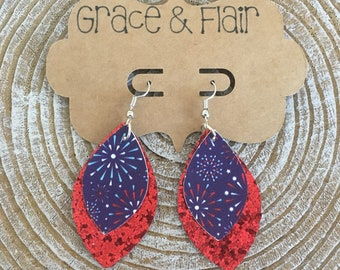 ON SALE Patriotic/Fourth of July Faux Leather Earrings