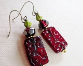 Red Boho Earrings, Ruby Dangle Drop Earrings, Bohemian, Czech Bead Dangles, Green, Christmas Earrings, holiday Jewelry,