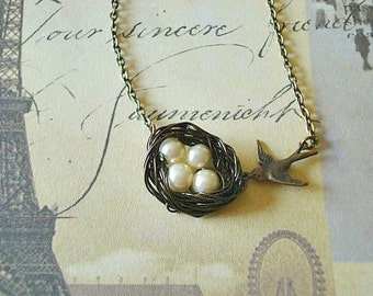 Bird Nest Necklace Pearl Nest Necklace Birdnest Necklace Mom Necklace Sister Friend The Four of Us Together Forever