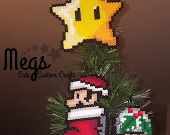 Perler Bead Art - Mario Star Tree Topper