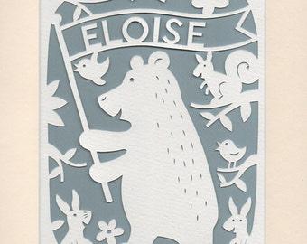 Personalised Nursery Decor, Woodland Bear with Rabbits, Handcut Papercut, Baby Gift, Woodland Nursery, Kids Wall Art, Baby Gift