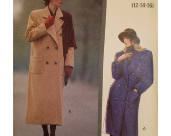 "Straight Coat Pattern, Lined, Double Breasted, Notched Collar, Pockets, Button Trim, 1980s, Vogue No. 7596 UNCUT Size 12 14 16 (Bust 34-38"")"