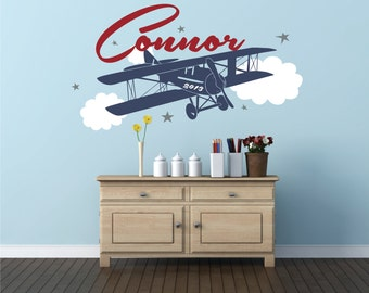 Airplane Name Decal  Personalized ... & Plane and clouds | Etsy