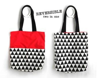 Canvas tote bag with pocket geometric shoulder bag beach bag weekender bag shopper bag slouchy bag gym bag book bag canvas bag black white