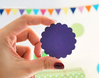 Circle Die Cut, Scalloped Circle, Scalloped Circles,  (2.0 inches) in Light Purple textured Cardstock Die Cut A904
