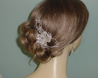 Bridal Hair Comb Silver Embroidered Flower Swarovski Crystal Rhinestone Pearl