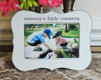 Mommys little monster picture frame gift mothers day gift mom mama Personalized photo picture frame daughter mother bride wedding gift