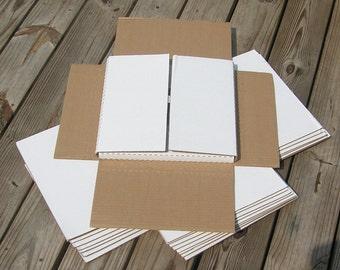 "10 White Cardboard Boxes 12 X 12 x 3/4-1 3/8""-Free shipping"