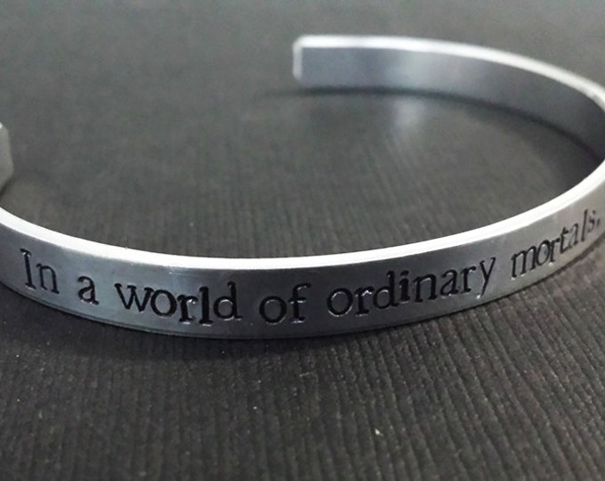 Featured listing image: In a world of ordinary mortals, you are a Wonder Woman  - DC Comics Inspired Aluminum Bracelet Cuff - Diana Prince - Hand Stamped