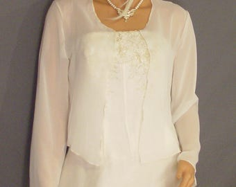Chiffon bolero shrug with long sleeves hip length jacket evening coat cover up sheer wedding wrap CBA215 AVL in ivory and 5 other colors