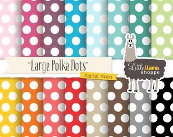 SALE: Large Polka Dots Digital Papers, Polka Dot Digital Paper, Dotted Backgrounds, Commercial Use, Instant Download