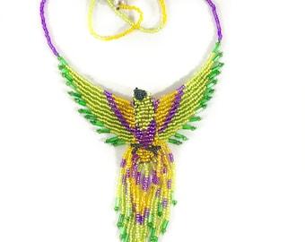 Bead Phoenix Necklace - Purple Green Yellow - Phoenix Jewelry - 3D Bead Firebird - Phoenix Bird Pendant - Fire Bird Jewelry - Thunderbird
